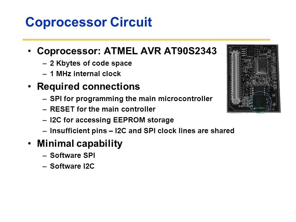 Coprocessor Circuit Coprocessor: ATMEL AVR AT90S2343