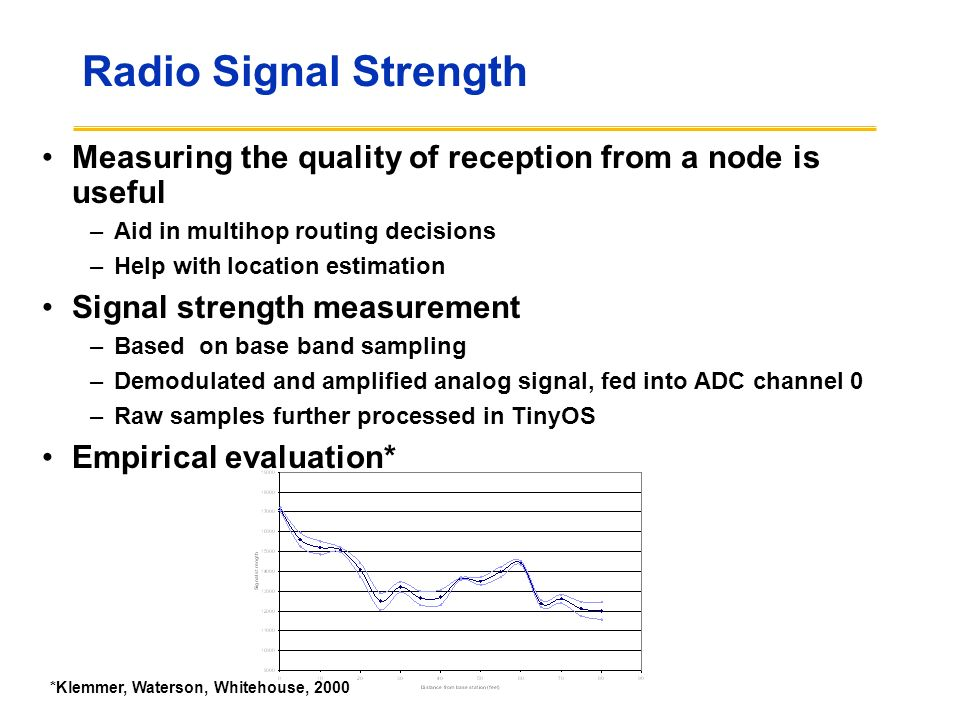 Radio Signal Strength Measuring the quality of reception from a node is useful. Aid in multihop routing decisions.