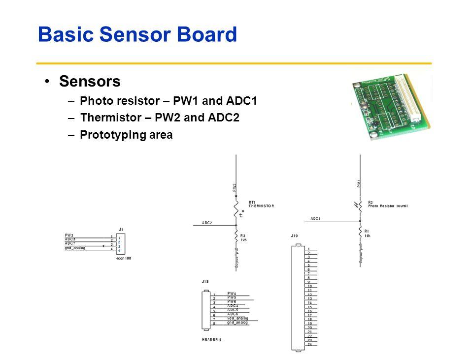 Basic Sensor Board Sensors Photo resistor – PW1 and ADC1