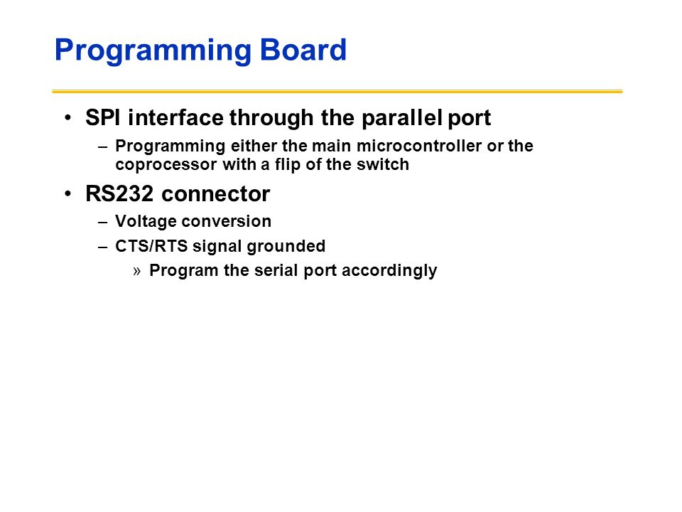 Programming Board SPI interface through the parallel port