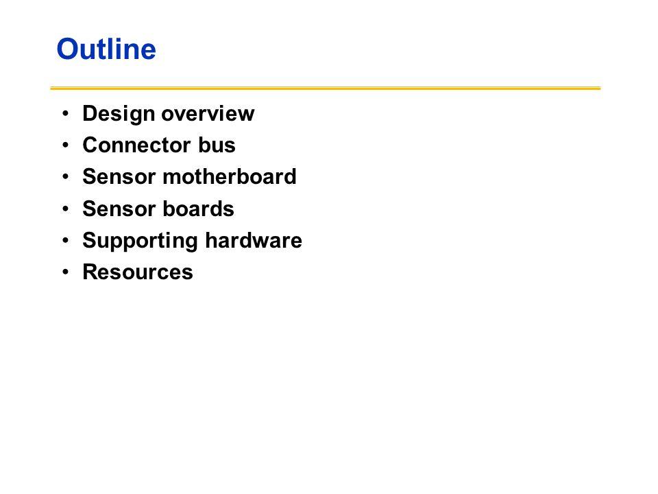 Outline Design overview Connector bus Sensor motherboard Sensor boards