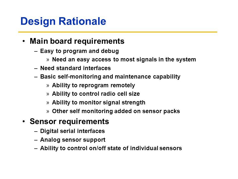 Design Rationale Main board requirements Sensor requirements