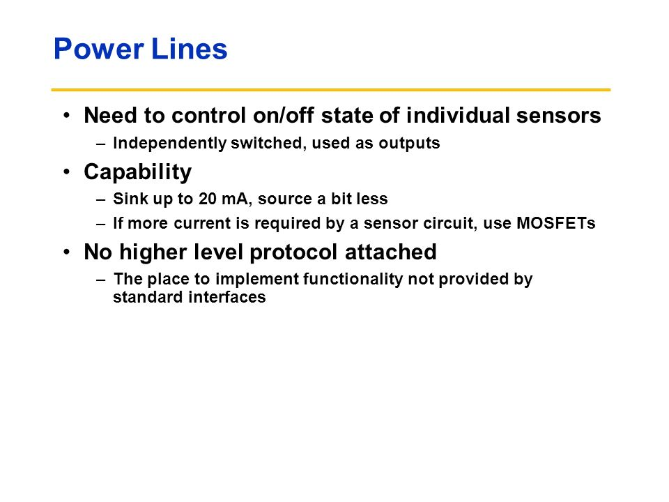 Power Lines Need to control on/off state of individual sensors