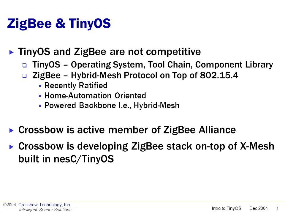 ZigBee & TinyOS TinyOS and ZigBee are not competitive