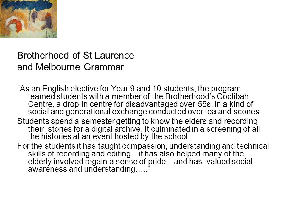 Brotherhood of St Laurence and Melbourne Grammar