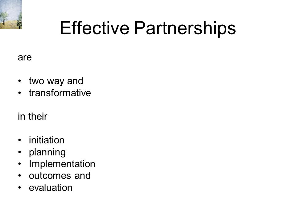 Effective Partnerships