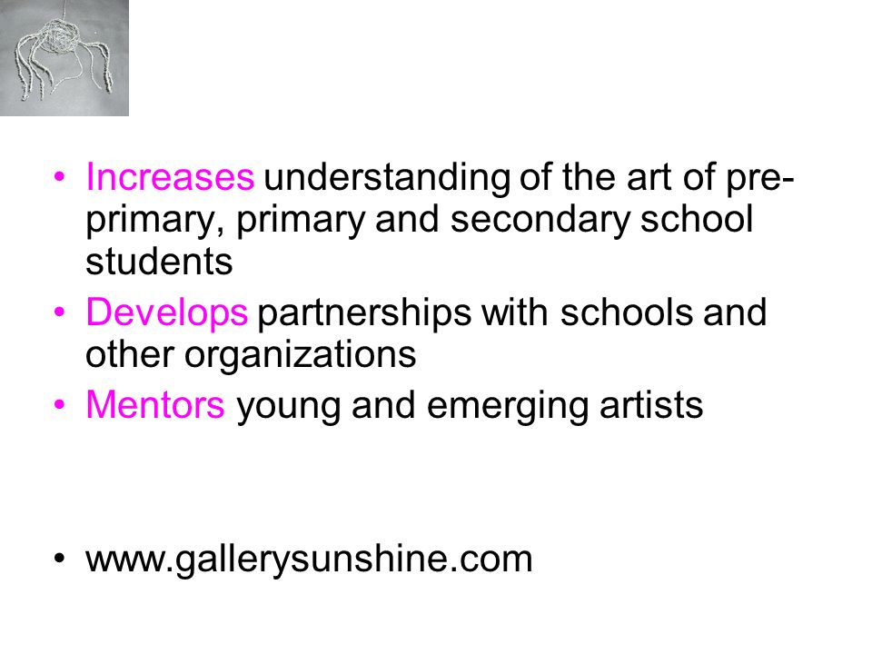 Increases understanding of the art of pre-primary, primary and secondary school students