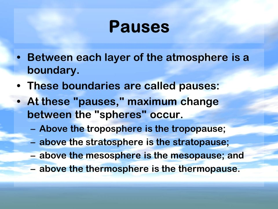 Pauses Between each layer of the atmosphere is a boundary.