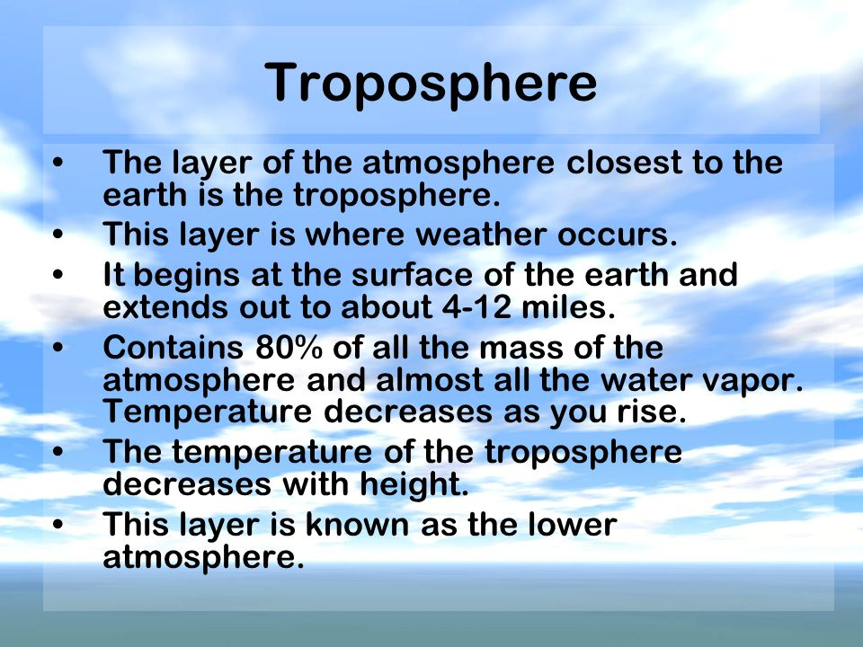 Troposphere The layer of the atmosphere closest to the earth is the troposphere. This layer is where weather occurs.