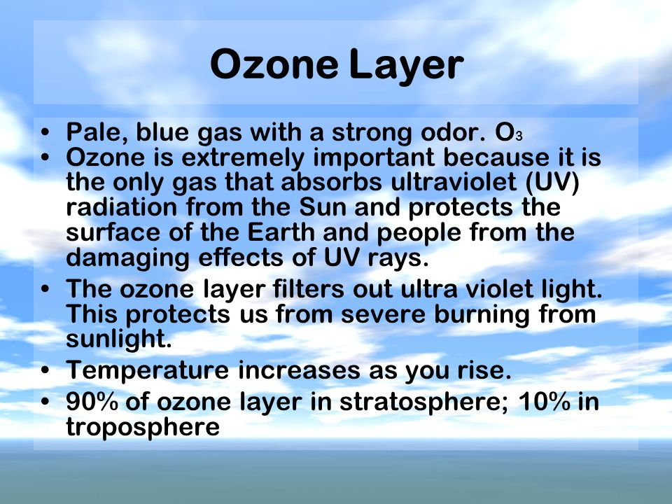 Ozone Layer Pale, blue gas with a strong odor. O3