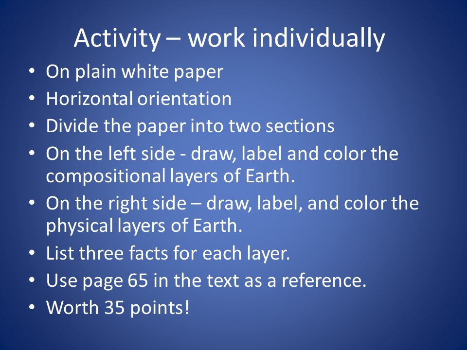 Activity – work individually