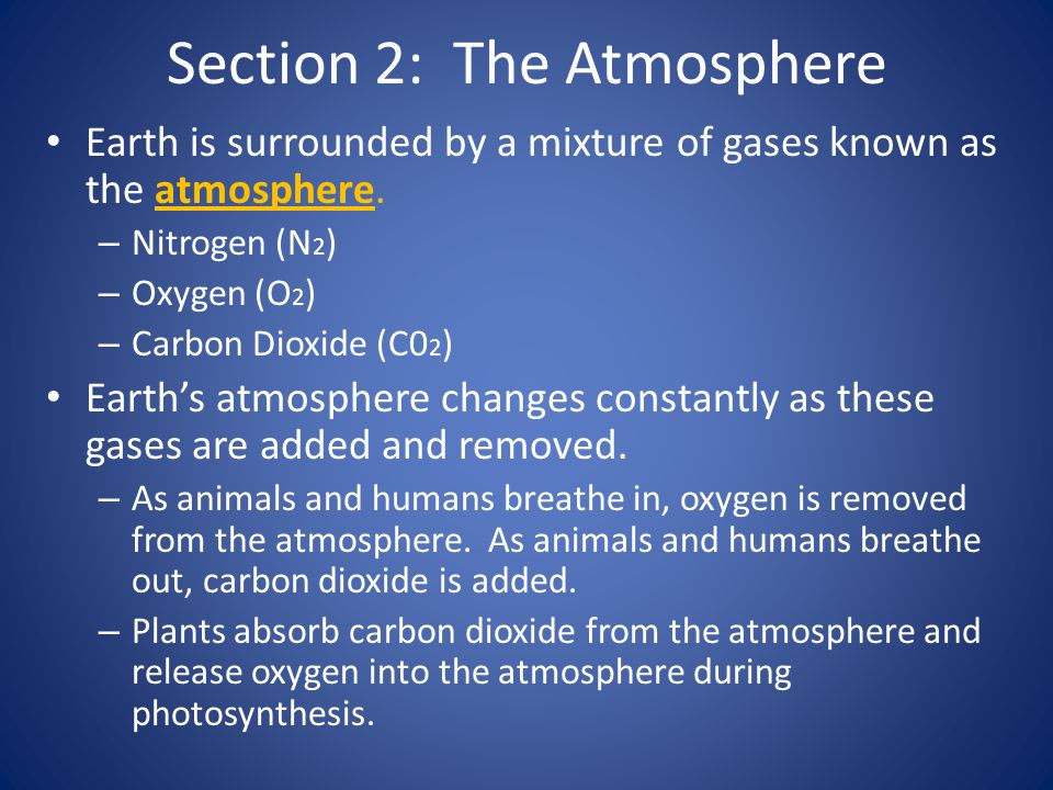 Section 2: The Atmosphere