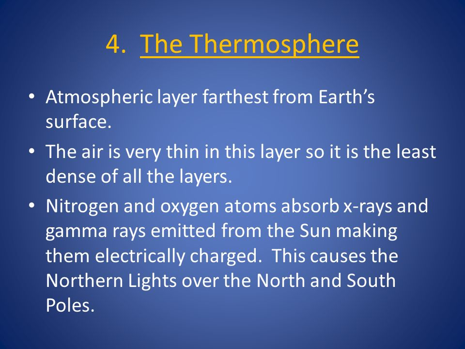 4. The Thermosphere Atmospheric layer farthest from Earth's surface.