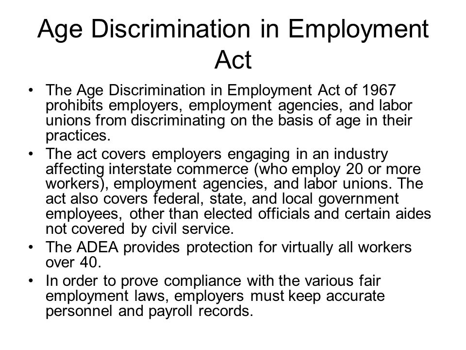 employee age discrimination essay Age discrimination and the burdens of proof the burden of proof-employee when an older employee or job applicant believes that they have been discriminated against, they may file an action against the employer under the adea.