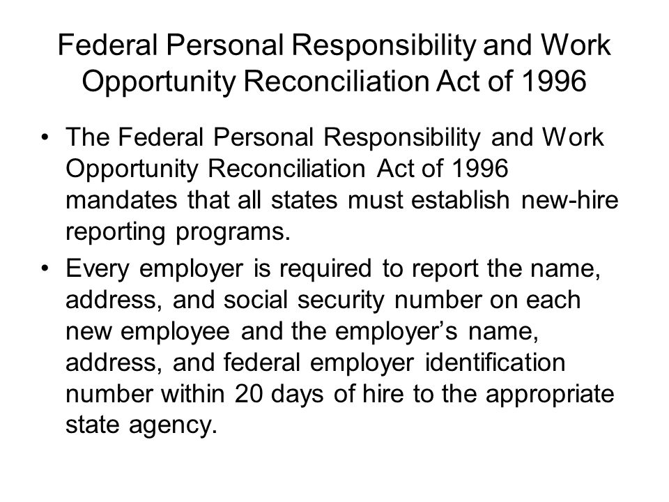 a paper on the personal responsibility and work opportunity act prwora