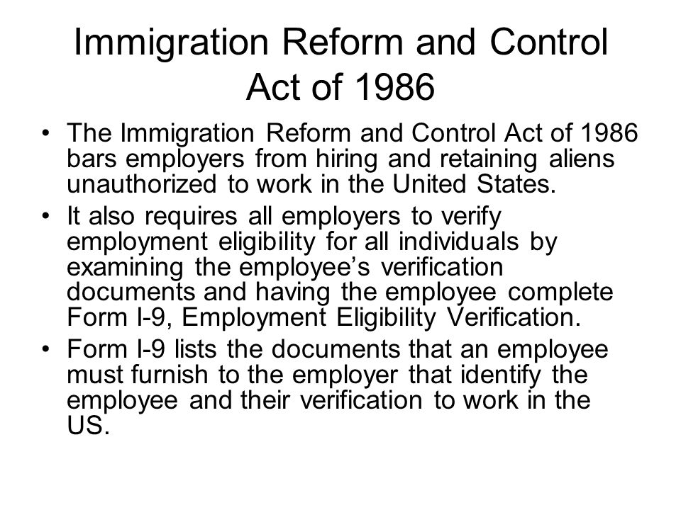 immigration reform and control act essay Immigration in the united states of america history essay the immigration reform and control act of promised to reform the immigration act of 1971 in.
