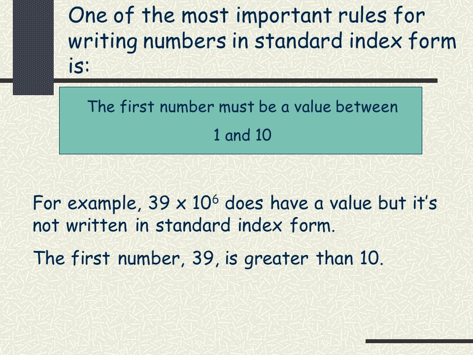 Rule for writing numbers