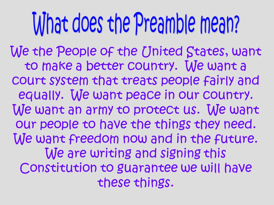 What does the Preamble mean