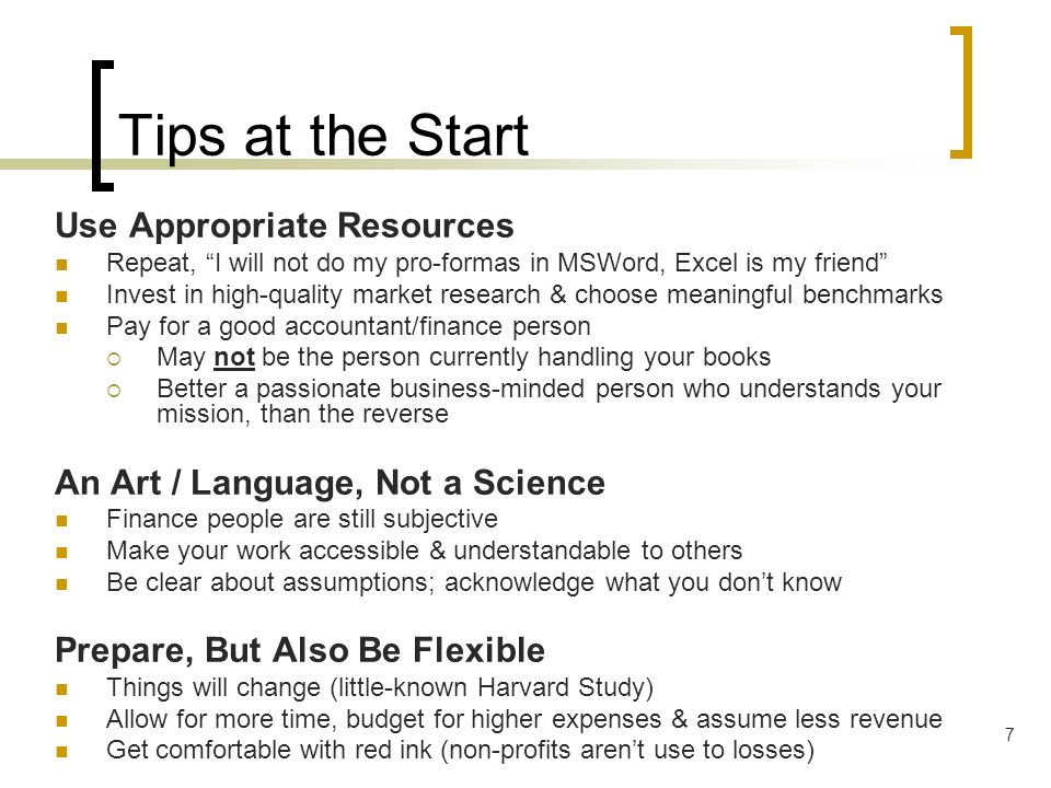 Tips at the Start Use Appropriate Resources