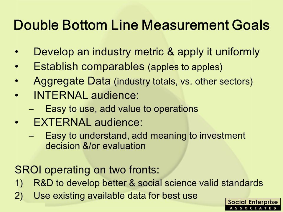 Double Bottom Line Measurement Goals