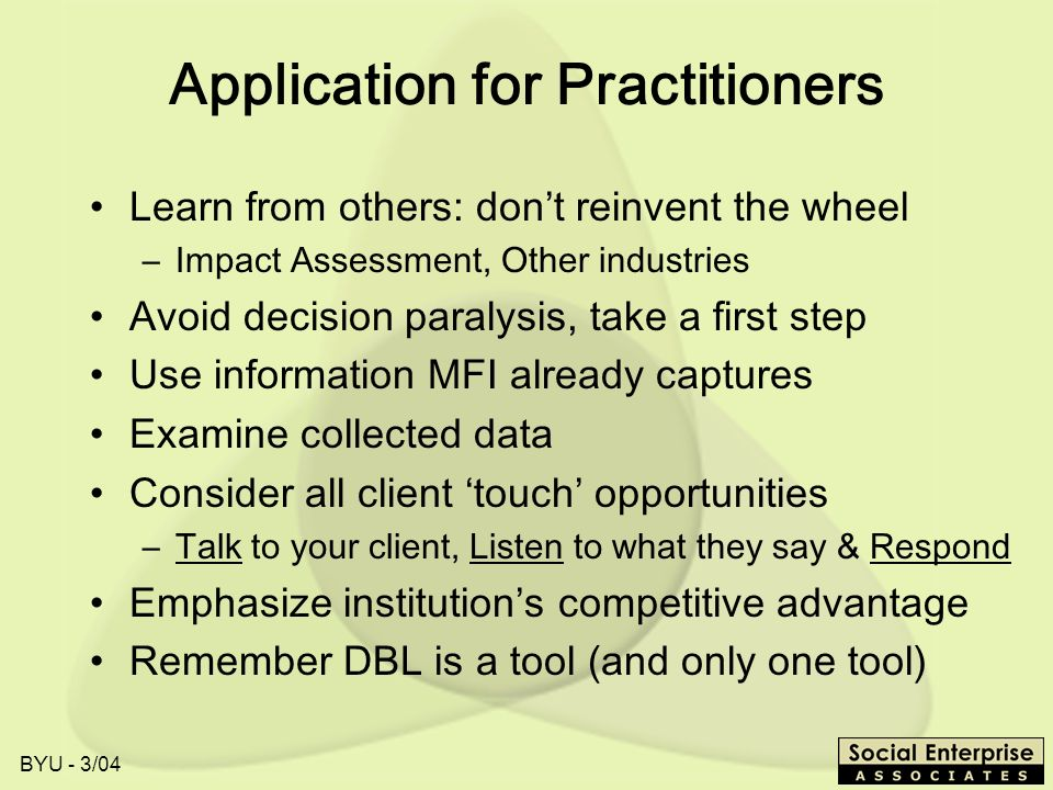 Application for Practitioners