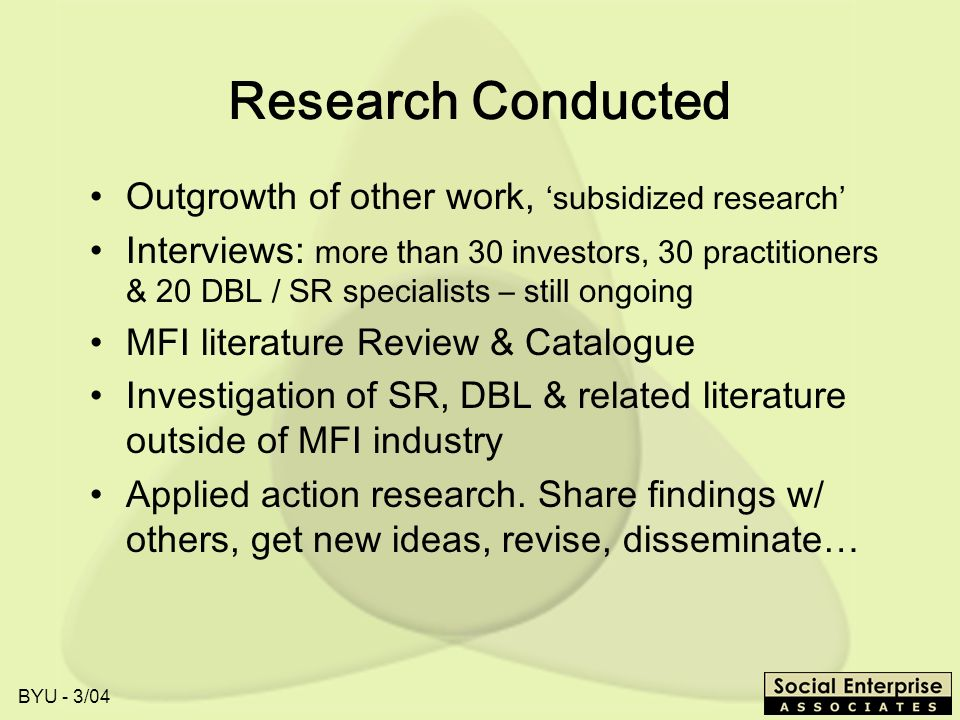 Research Conducted Outgrowth of other work, 'subsidized research'