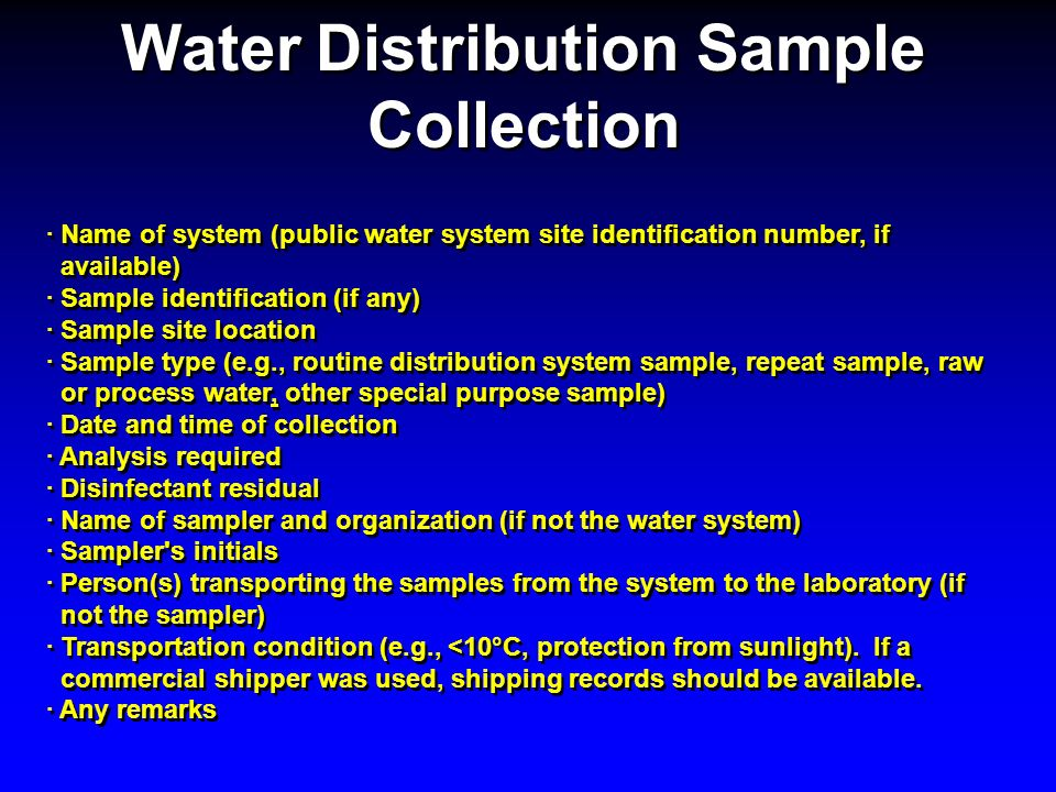 Water Distribution Sample Collection