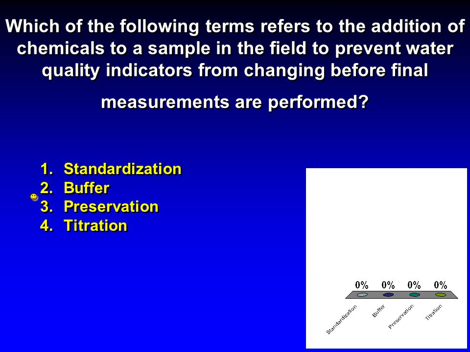 Which of the following terms refers to the addition of chemicals to a sample in the field to prevent water quality indicators from changing before final measurements are performed