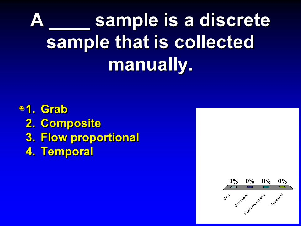 A ____ sample is a discrete sample that is collected manually.