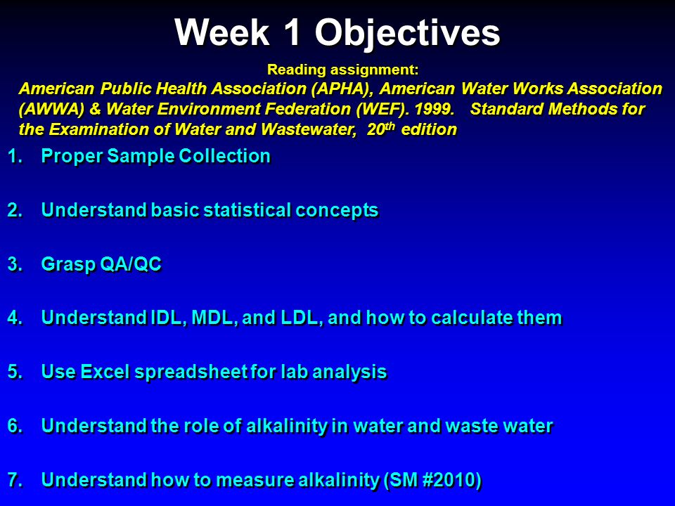 Week 1 Objectives Proper Sample Collection