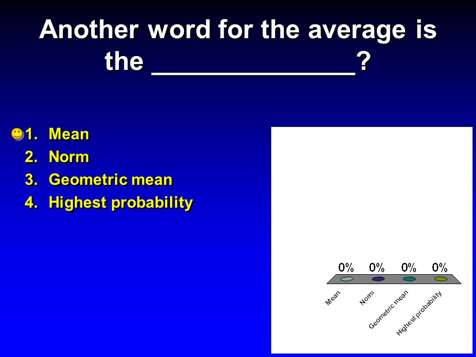 Another word for the average is the ______________