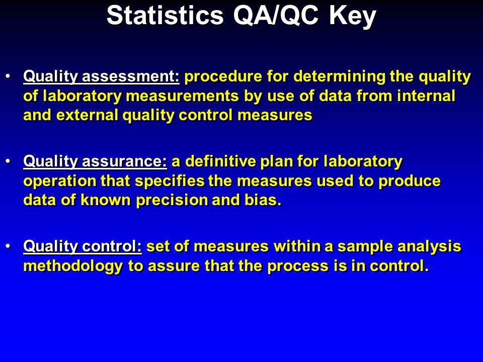 Statistics QA/QC Key