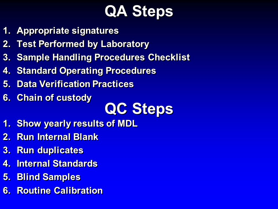 QA Steps QC Steps Appropriate signatures Test Performed by Laboratory