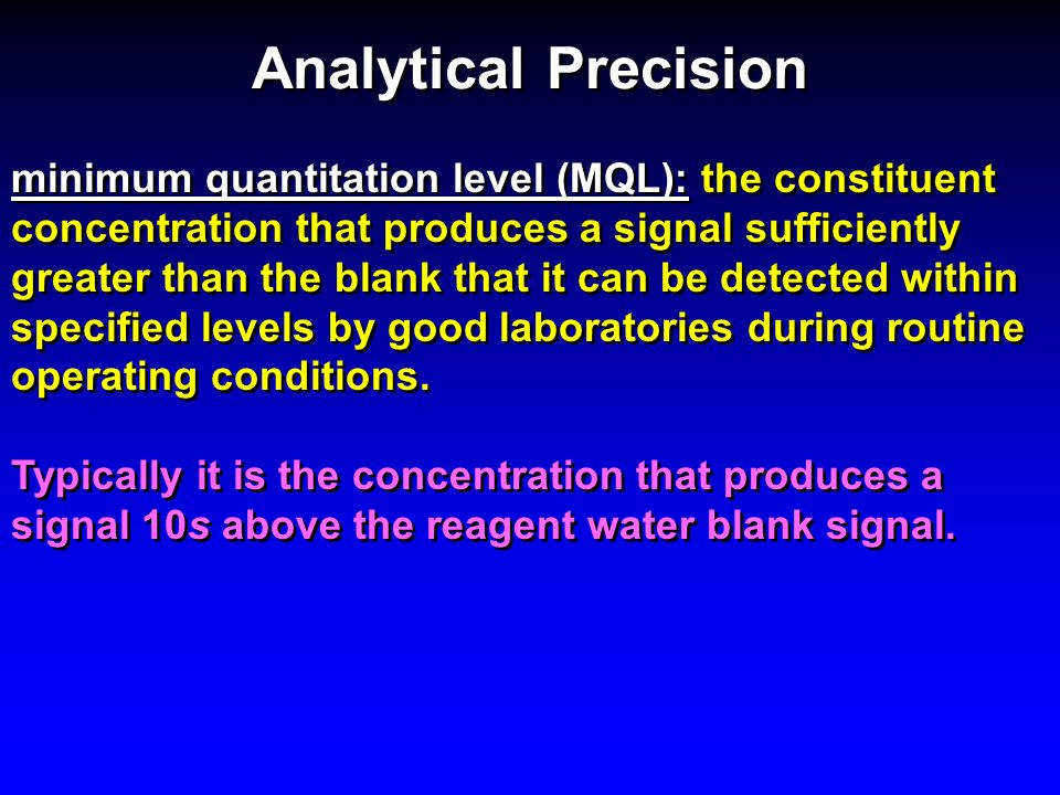 Analytical Precision