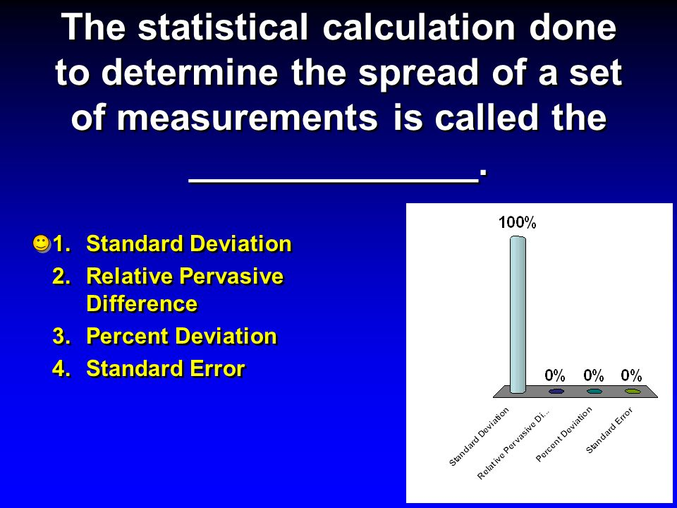 The statistical calculation done to determine the spread of a set of measurements is called the ______________.
