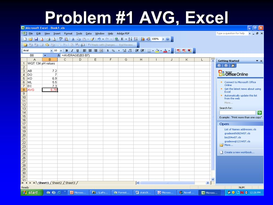 Problem #1 AVG, Excel