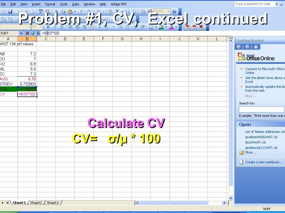 Problem #1, CV, Excel continued