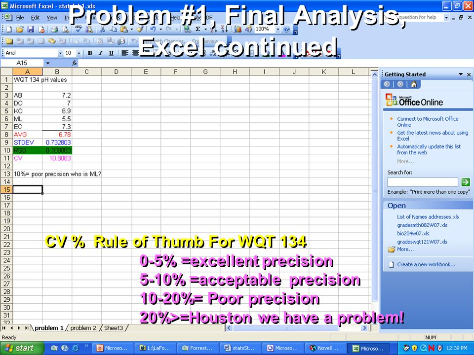 Problem #1, Final Analysis, Excel continued