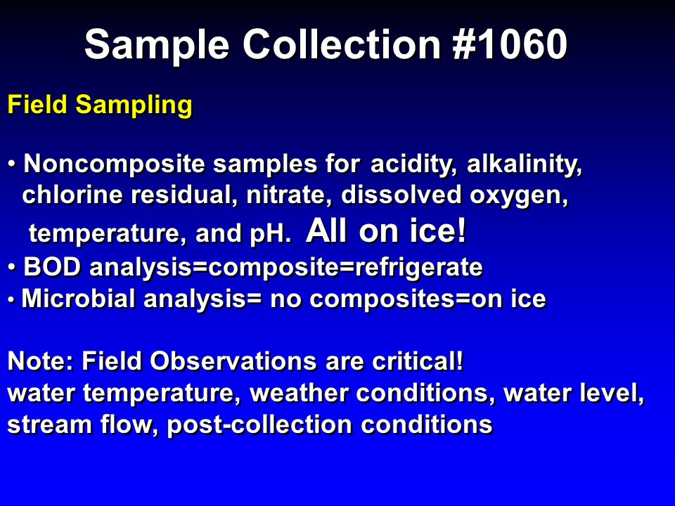 Sample Collection #1060 Field Sampling