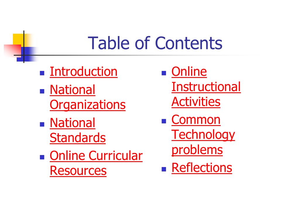 Table of Contents Introduction National Organizations