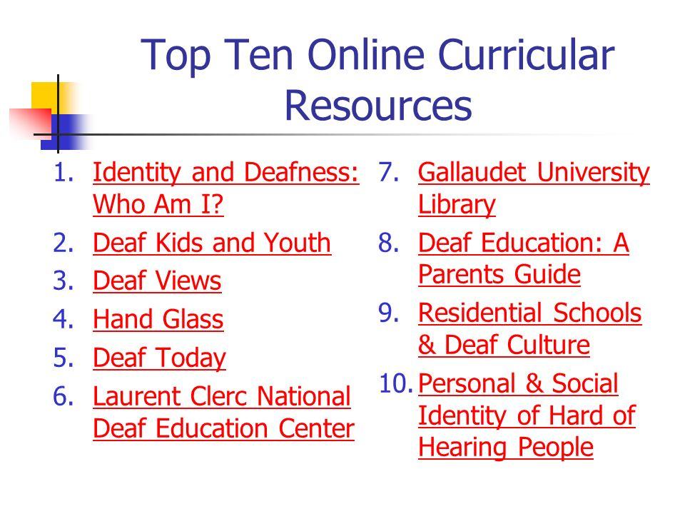 Top Ten Online Curricular Resources
