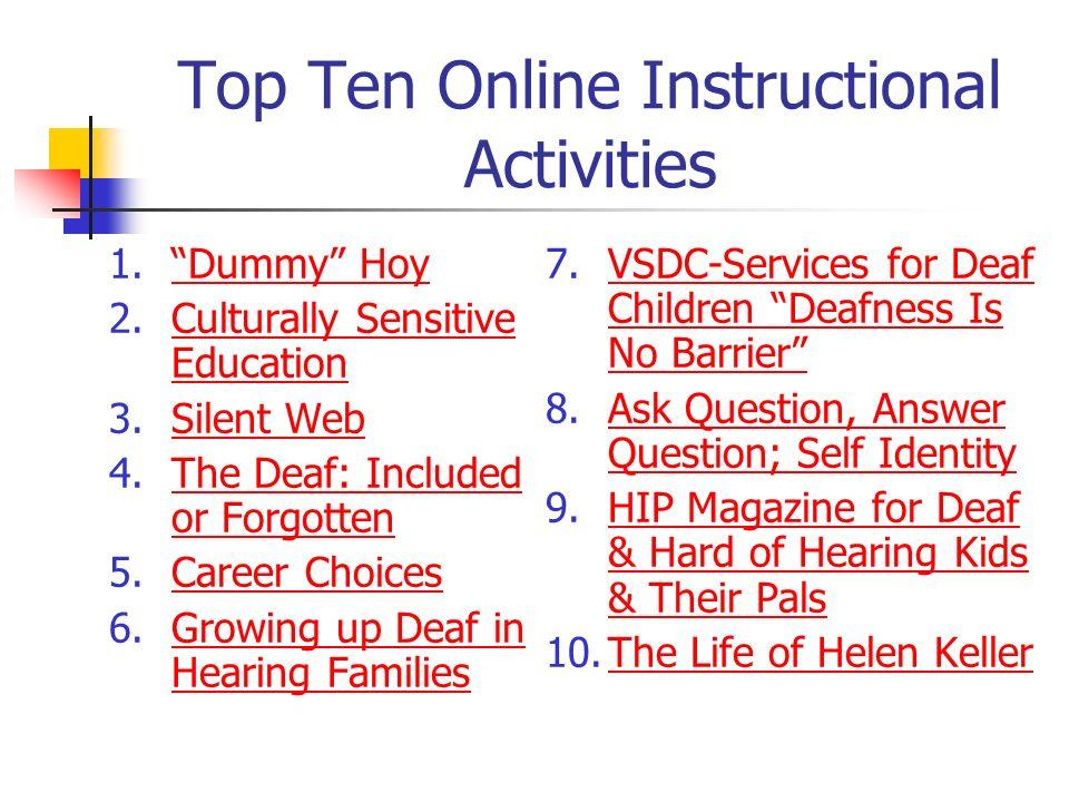 Top Ten Online Instructional Activities