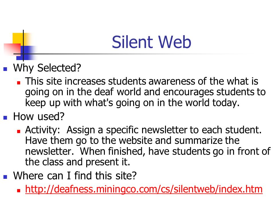 Silent Web Why Selected How used Where can I find this site
