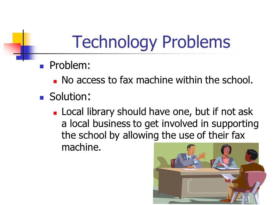 Technology Problems Problem: Solution: