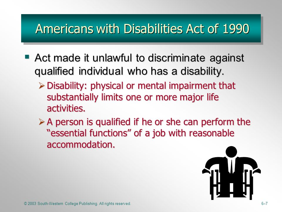 americans with disabilities act of 1990 essay Passed by congress in 1990, the americans with disabilities act (ada) is the nation's first comprehensive civil rights law addressing the needs of people with disabilities, prohibiting discrimination in employment, public services, public accommodations, and telecommunications.