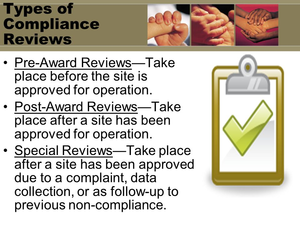 Types of Compliance Reviews
