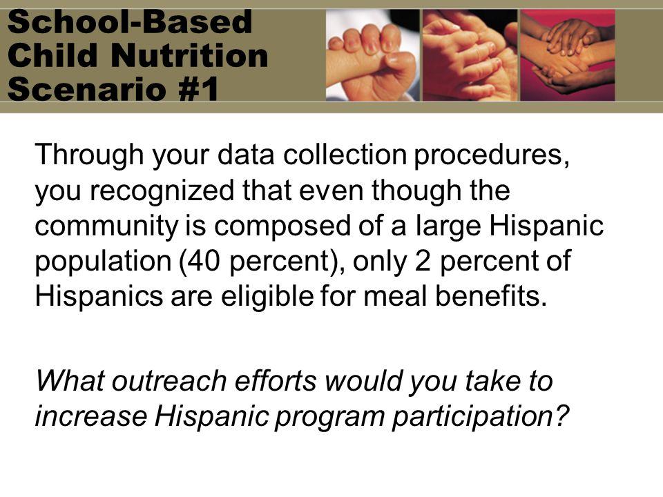 School-Based Child Nutrition Scenario #1