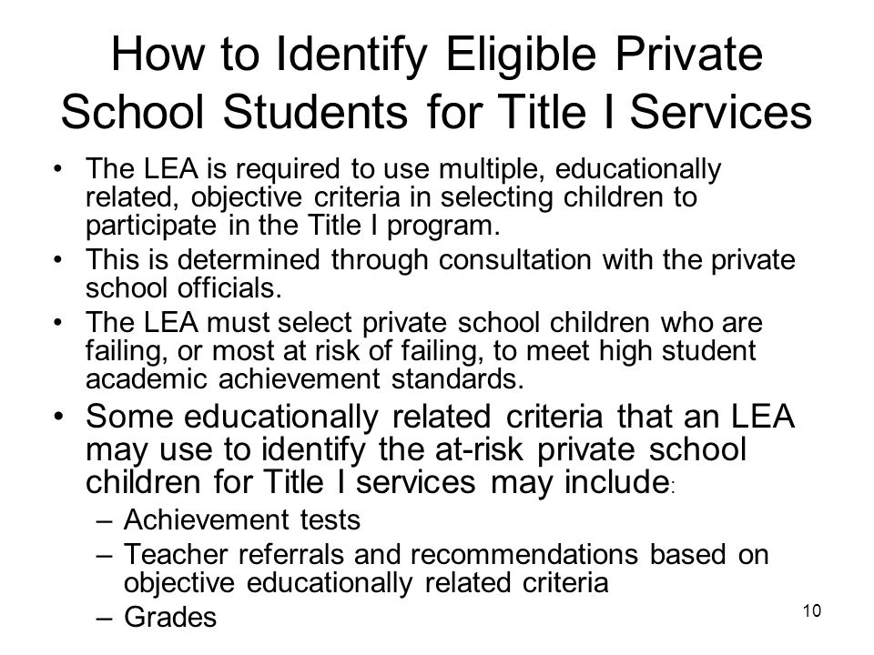 How to Identify Eligible Private School Students for Title I Services