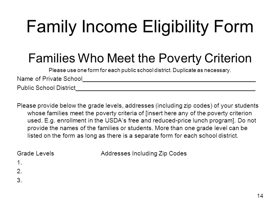 Family Income Eligibility Form