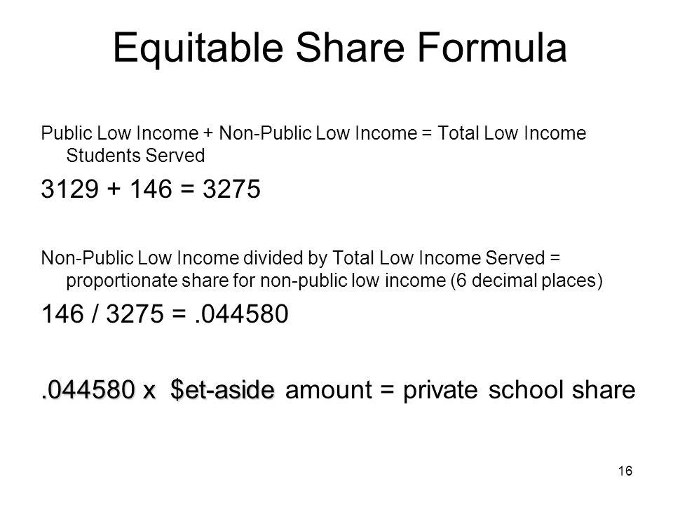 Equitable Share Formula